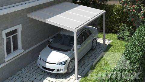 Carport moderne blanc mat 4,06 x 2,5 mètre avec polycarbonate IQ relax