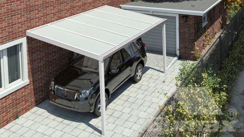 Carport classique blanc mat 5,06 x 2,5 mètre avec polycarbonate IQ relax