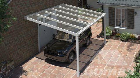 Carport classique blanc mat 5,06 x3,5 mètre avec polycarbonate clair