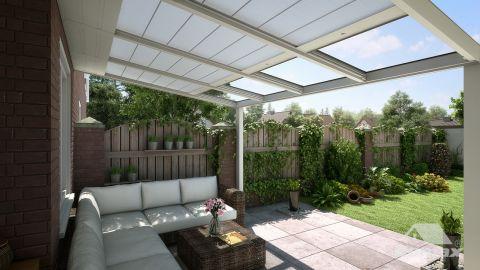 Gumax protection solaire automatique 4,06m x 2,5m crème mat