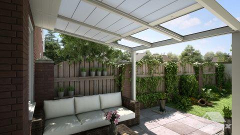 Gumax protection solaire automatique 3,06m x 3,5m crème mat