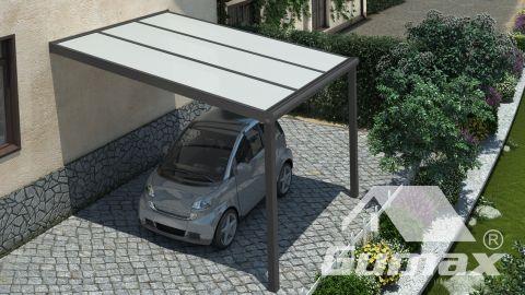 Gumax Carport moderne anthracite mat 3,06 x 3,5 mètre avec polycarbonate opale vue de dessus