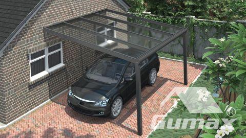 Gumax Carport moderne anthracite mat 4,06 x 4 mètre avec polycarbonate clair vue de dessus