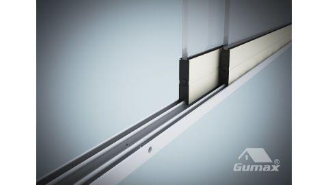 Gumax glazen schuifwand mat crème 2-rail close-up