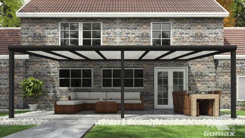 Gumax terrasoverkapping vooraanzicht 8.06m breed x 3.5m diep modern antraciet met opaal polycarbonaat dak