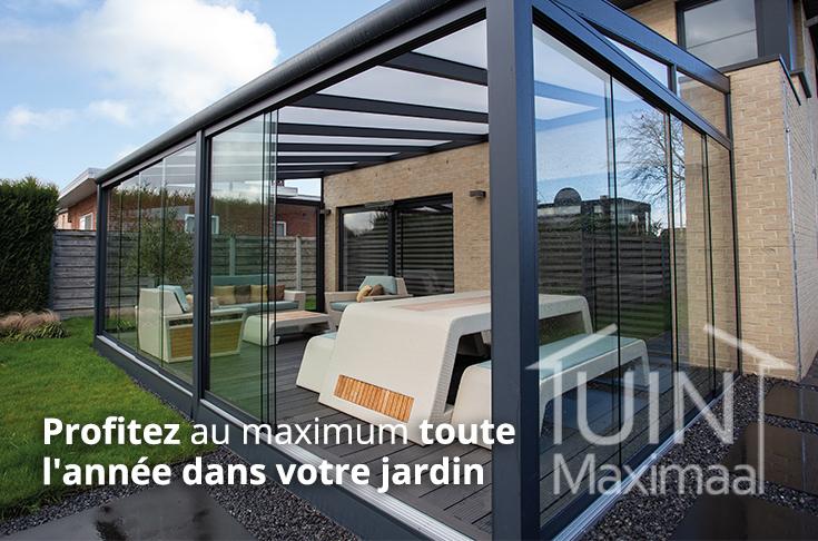 cloison coulissante en verre creme veranda tuinmaximaal