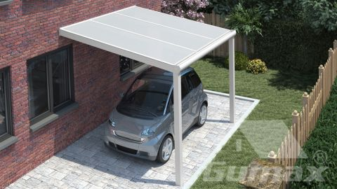 Moderne carport in mat wit van 3,06 x 2,5 meter met opaal polycarbonaat