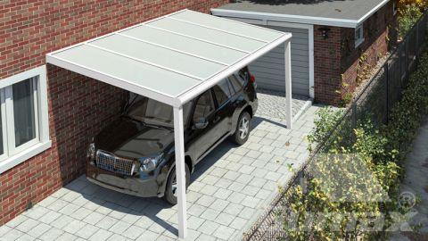 Moderne carport in mat wit van 5,06 x 3 meter met opaal polycarbonaat