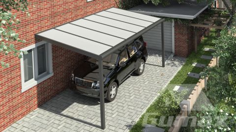 Gumax carport 6.06m  x 2.5m modern antraciet iq relax polycarbonaat boven