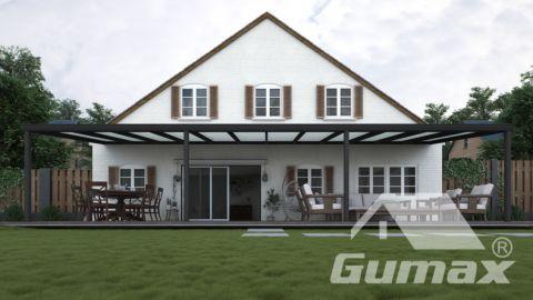 Klassieke terrasoverkapping in mat antraciet van 12,06 x 3,5 meter met melkglas dak