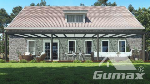 Klassieke terrasoverkapping in mat antraciet van 12,06 x 3 meter met melkglas dak