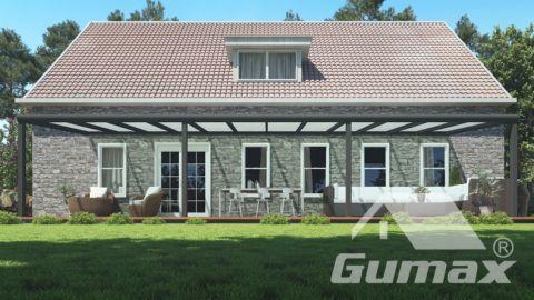 Moderne terrasoverkapping in mat antraciet van 12,06 x 3 meter met melkglas dak