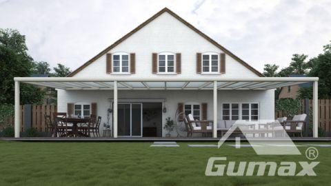 Moderne terrasoverkapping in mat crème van 12,06 x 4 meter met melkglas dak