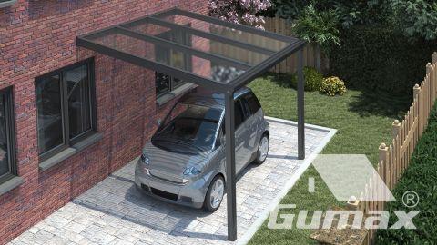 Gumax carport vooraanzicht klassiek antraciet klein