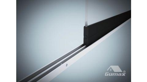 Gumax glazen schuifwand mat antraciet 1-rail close-up