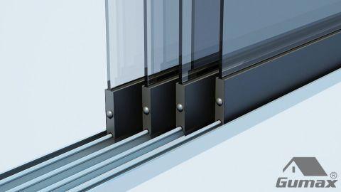 Gumax mat antraciet glazen schuifdeuren met rails 5 1 1 1