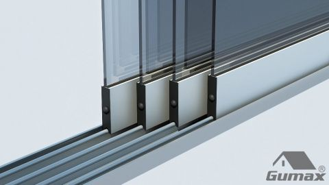 Gumax mat crème glazen schuifdeuren met rails 29 1