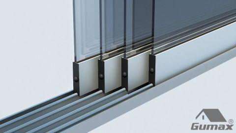 Gumax mat crème glazen schuifdeuren met rails 29 1 1 2