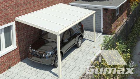 Gumax carport vooraanzicht modern crème klein