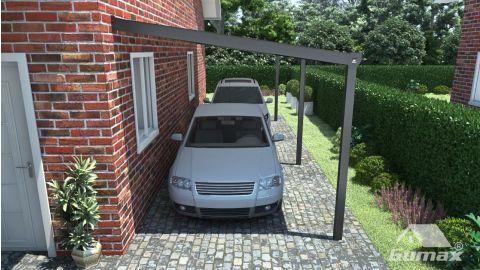 Gumax carport vooraanzicht modern antraciet normaal