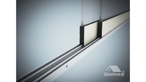Gumax glazen schuifwand mat crème 2-rail close-up