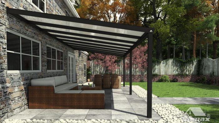 Goede Moderne terrasoverkapping in mat antraciet van 8,06 x 3,5 meter GL-32