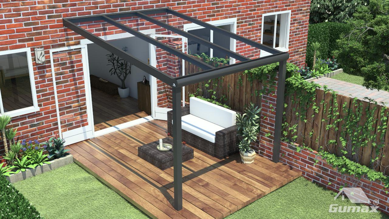 Moderne terrasoverkapping in mat antraciet van 3 06 x 4 meter met glazen dak for Verwijderbaar glas