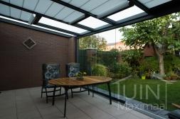 Gumax® Serre aanbouw inclusief elektrische Zonwering in mat antraciet en glazen schuifwanden