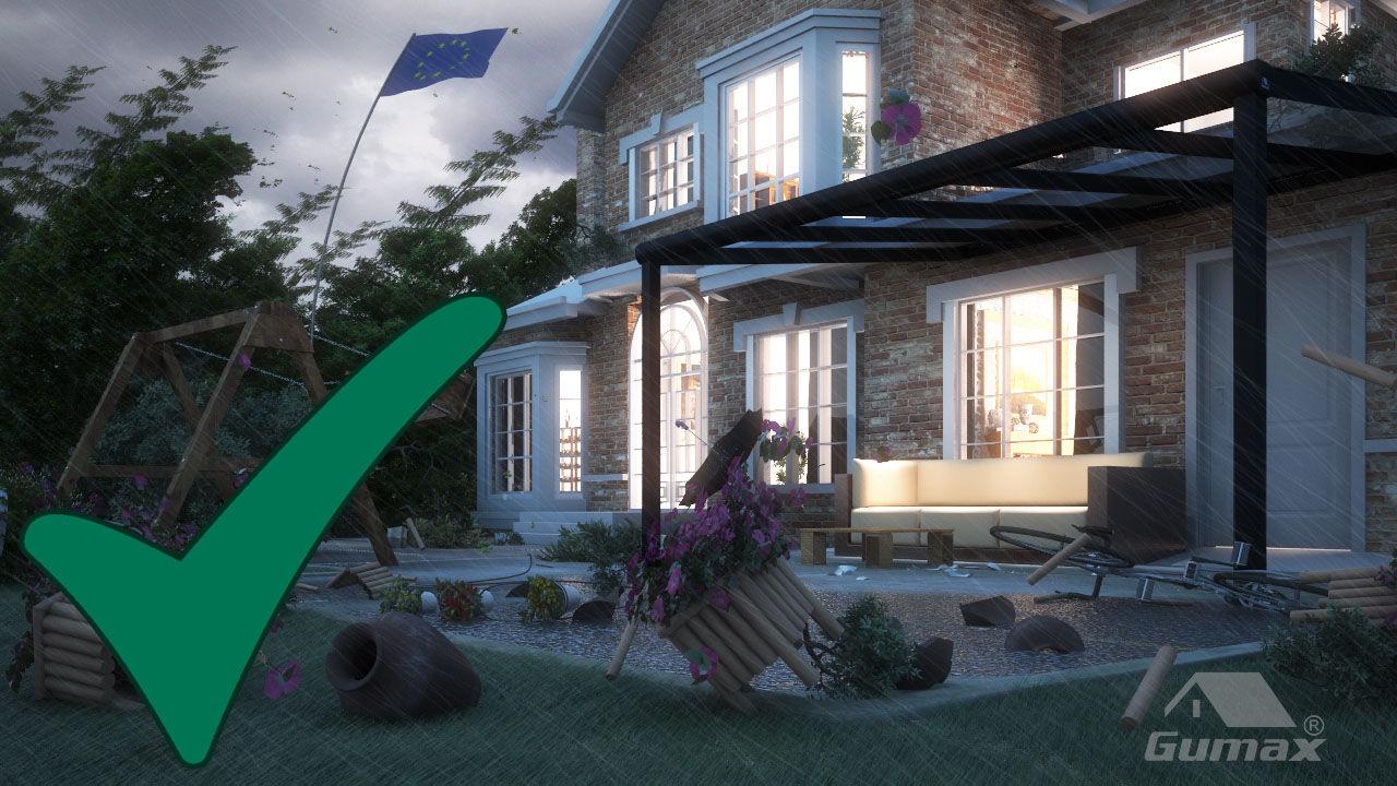 terrasoverkapping bestand tegen wind tot orkaankracht